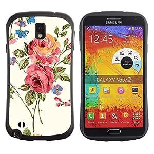 Fuerte Suave TPU GEL Caso Carcasa de Protección Funda para Samsung Note 3 N9000 N9002 N9005 / Business Style Rose Blossoms Pink Garden Art Flowers