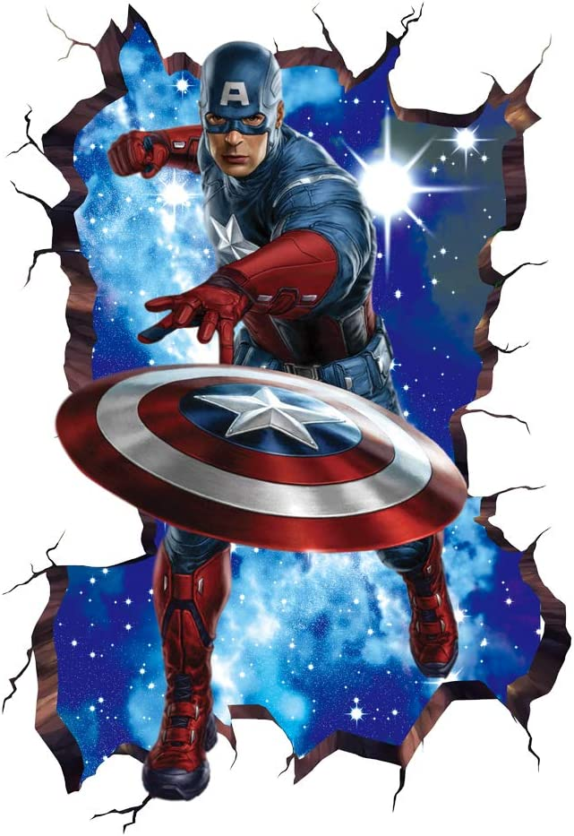 MOE MOE Captain America Wall Decal 3D Marvel Wall Decals for Boys Room, 40×60 cm Captain America Wall Sticker, PVC, Removable (15.7 x 23.7inches)