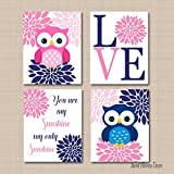 Pink Navy Blue Owls Nursery Wall Art Girl Room Decor,Twins Baby Gift You Are My Sunshine-UNFRAMED 4 PRINTS (NOT CANVAS)C692