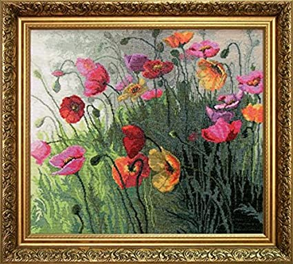 18.11x15.75 in Embroidery Counted cross stitch kit Charivna mit #418 Poppy field Flowers 46x40.5 cm