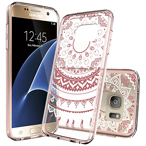 Galaxy S7 Clear Case, AnoKe [Scratch Resistant] Colorful Mandala Flower Acrylic Hard Rubber TPU Bumper Hybrid Slim Fit Protector For Samsung Galaxy S7 TM CH Rose Gold