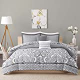Intelligent Design Isabella Comforter Set Twin/Twin XL Size - Grey, Geometric Damask – 4 Piece Bed Sets – Peach Skin Fabric Teen Bedding for Girls Bedroom