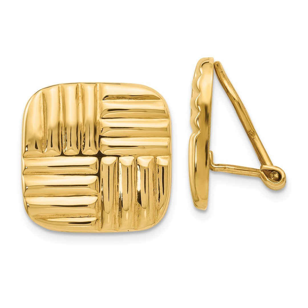 ICE CARATS 14k Yellow Gold Non Pierced Clip On Basket Weave Earrings Fine Jewelry Gift Set For Women Heart