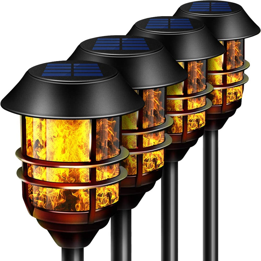 "Camabel 55"" Tall Solar Torches Lights 4 Pack with Flicking Flame 100% Metal LED Solar Light Outdoor Dancing Stainless Steel Walkway Lighting for Garden Patio Yard Decor Waterproof Pool Effect Black"