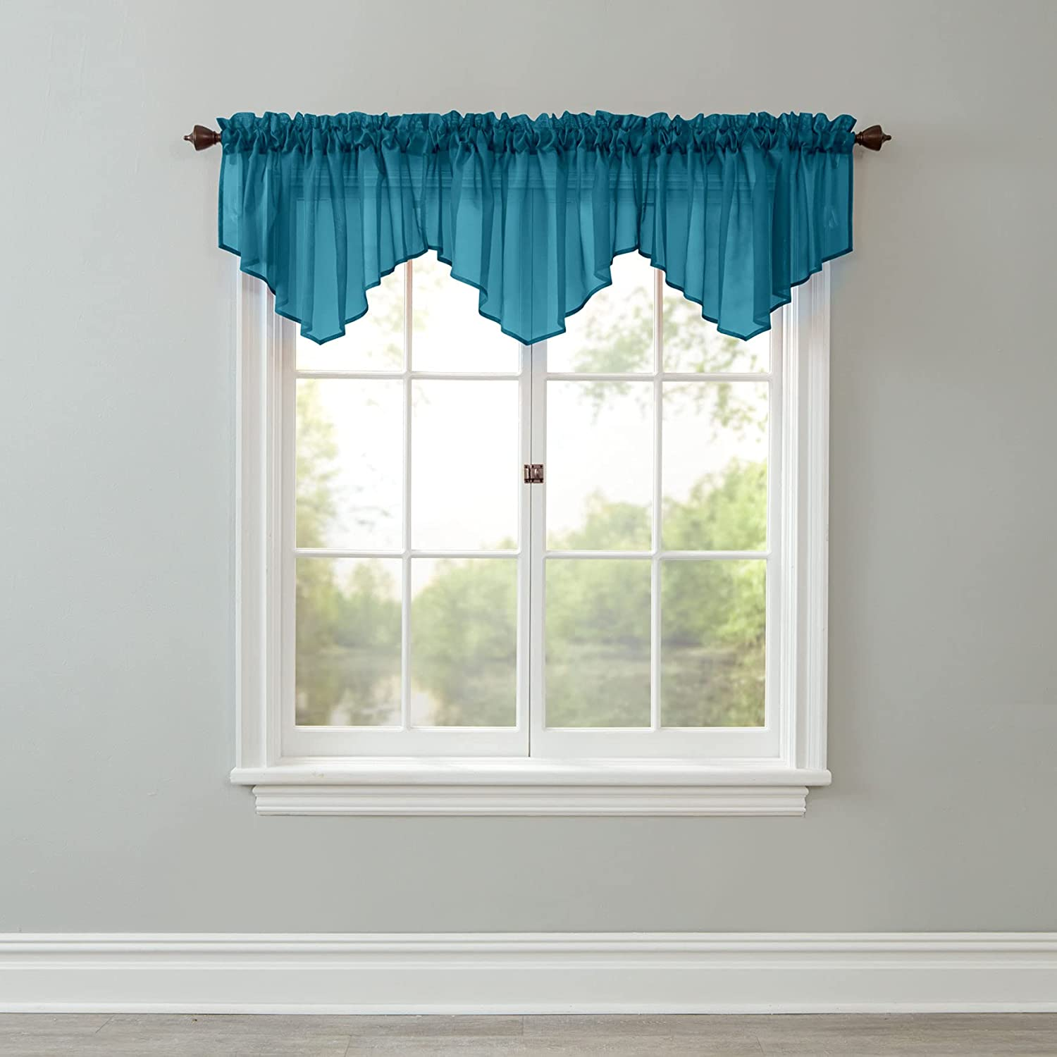 Amazon Com Brylanehome Sheer Voile Scarf Valance 40i W 144il Dark Turquoise Home Kitchen