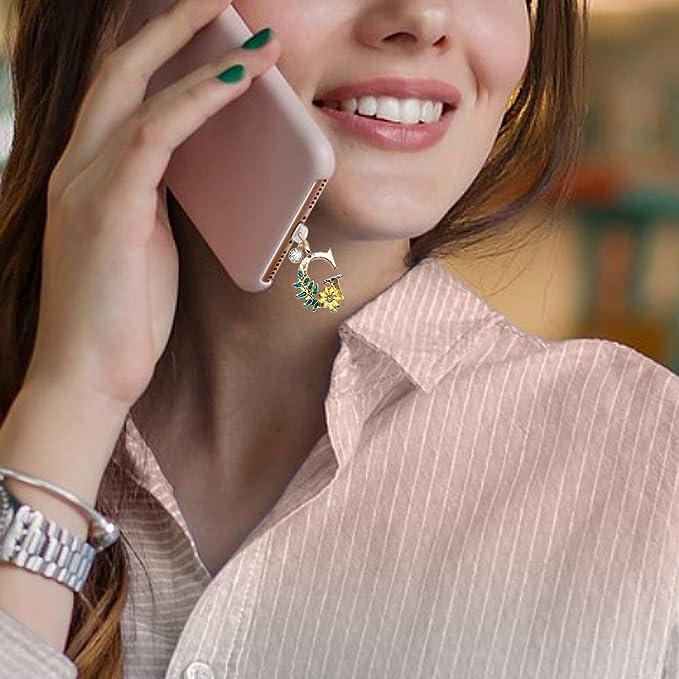 ELISE /& FONDA CP307 USB Charging Port Anti Dust Plug Cute Initial Letter J Pendant Phone Charm for iPhone 11// XS MAX//XR//X//8 Plus//7//6S//7//SE iPad iPod