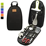 Gold Armour Camp Kitchen Utensil Organizer Travel Set Portable BBQ Camping Cookware Stainless Steel Utensils Travel Kit…