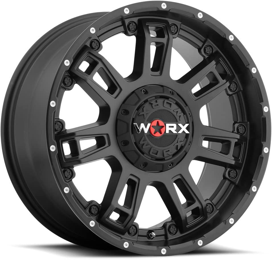 20 x 12. inches //8 x 170 mm, -44 mm Offset Worx 811U Conquest Satin Black with Diamond Cut Accents Wheel with Painted Finish and 36