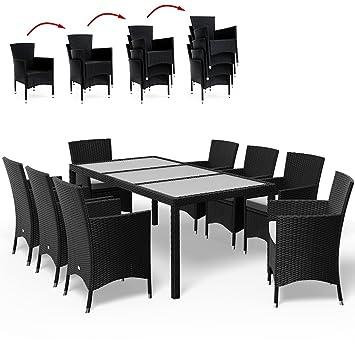 Deuba | Salon de Jardin - Ensemble 8+1 • Noir, polyrotin | 4 chaises ...