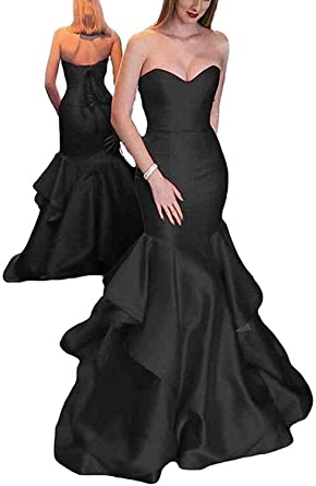 907203115d7c8e Ever-Beauty Womens Strapless Mermaid Prom Dress 2019 Long Satin Evening Formal  Gown with Ruffles