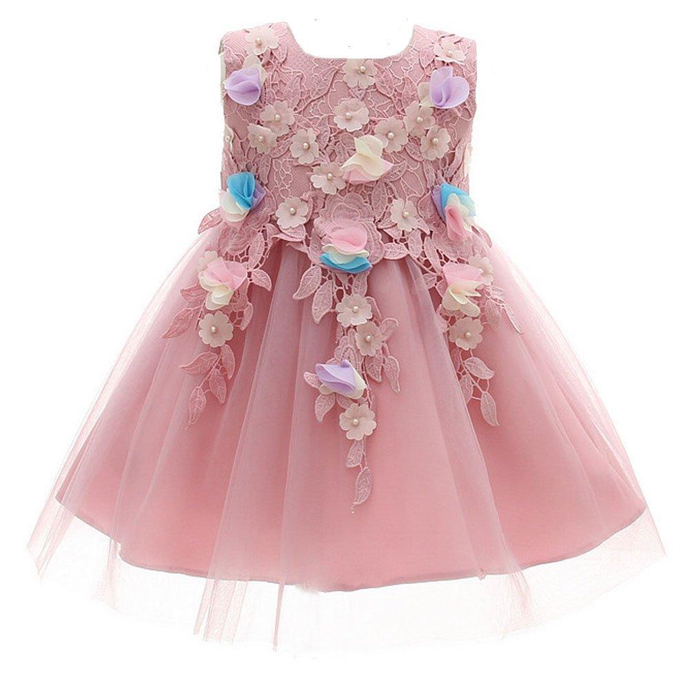 AHAHA Abiti da Sposa Principessa Bambina Festa di Compleanno Vestito Rosa 0-2 Anni