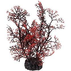 TOOGOO(R) Aquarium Aquascaping Artificial Plant Decor, Dark Brown/ Red