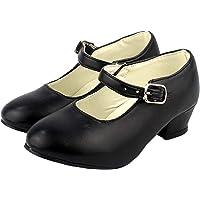 Zapato Flamenco,Calzado de Danza Baile Sevillanas para Niña Mujer,Rojo Lunares Negros