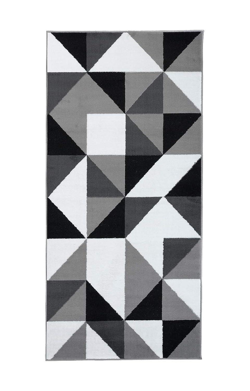 Tapiso Tapiso Tapiso Luxury Läufer Teppich Flur Korridor Kurzflor Brücke Designer Schwarz Weiss Grau Dreieck Geometrisch Abstrakt Muster ÖKOTEX 120 x 260 cm b53e13