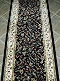 """101242 - Rug Depot Floral Hall Runner Remnant - 26"""" x 12' - Black Background - Radici Como 1593 Black - Hallway Runner ON SALE - FREE Serging Applied on Ends - Rug Runner is Machine-Made of 100% Olefin - Less Than 500,000 Points - T-4 Quality Rating - Custom Hall Runners with Matching Area Rugs and Stair Treads"""