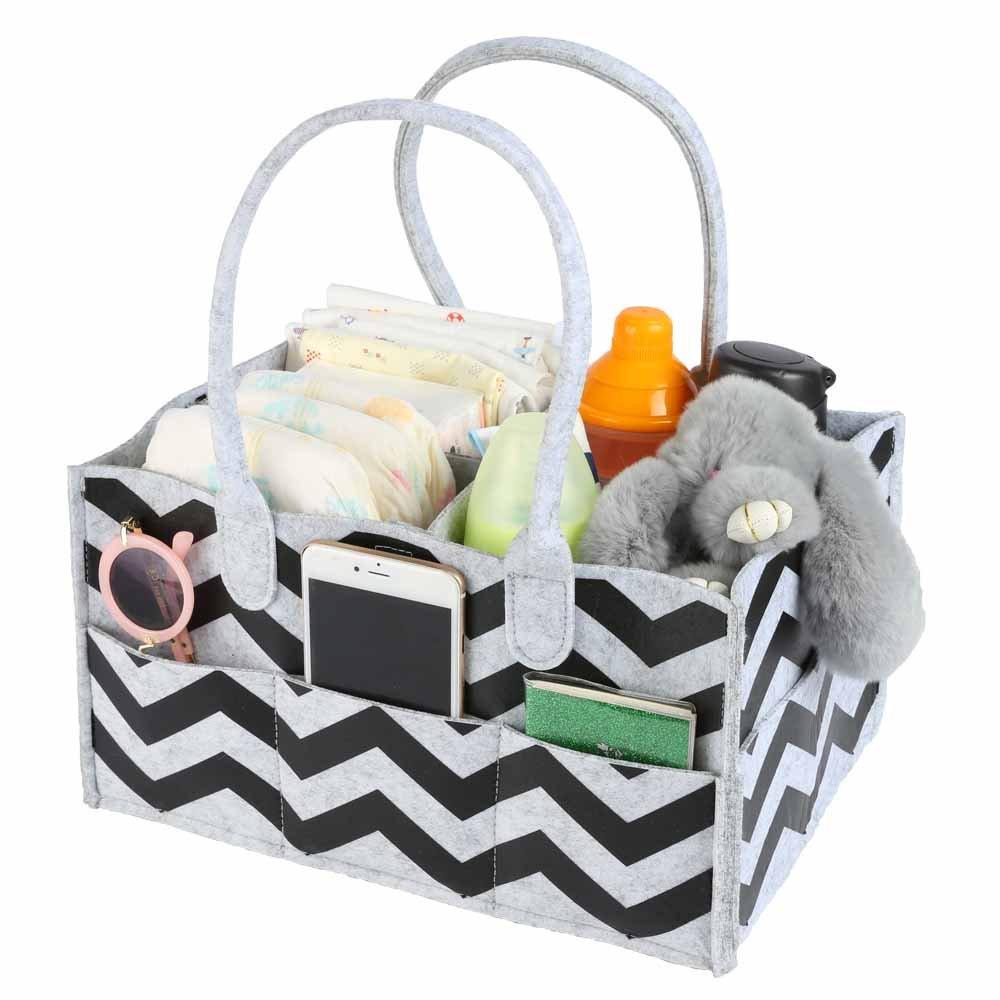 weeare Baby Diaperキャディorganizer|portableおむつストレージキャディ|nappyバッグfor Baby Basket for Boy Girl |保育園ストレージビンのおむつとベビーワイプ、おもちゃの子(グレー)   B079BFQCTL