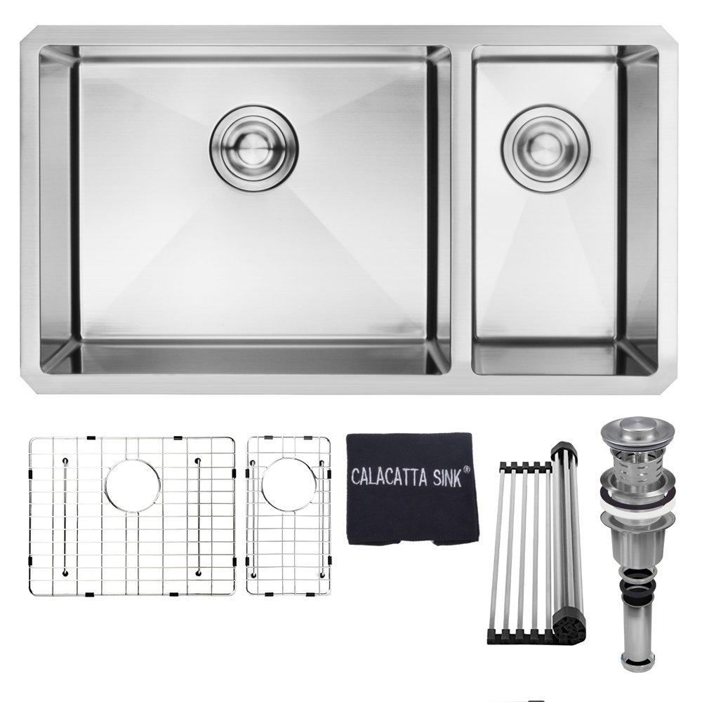 32'' x 18'' Stainless Steel 304 Handmade Double Bowl Undermount 70/30 Kitchen Sink 16 Gauge w/Drain Strainer Grid & Dish Cloth, CS3218