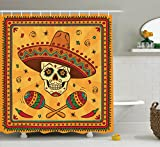 Ambesonne Mexican Decorations Collection, Mexican Sugar Skull Cartoon Carnival Traditional Celebration Image Pattern, Polyester Fabric Bathroom Shower Curtain Set with Hooks, Orange Teal Green
