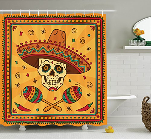 Ambesonne Mexican Decorations Collection, Mexican Sugar Skull Cartoon Carnival Traditional Celebration Image Pattern, Polyester Fabric Bathroom Shower Curtain Set with Hooks, Orange Teal Green by Ambesonne