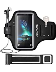 Galaxy S10/S9/S8 Armband, JEMACHE Gym Run/Jog/Exercise Workout Arm Band Case for Samsung Galaxy S10/S9/S8/S7 Edge with Key/Card Holder (Black)