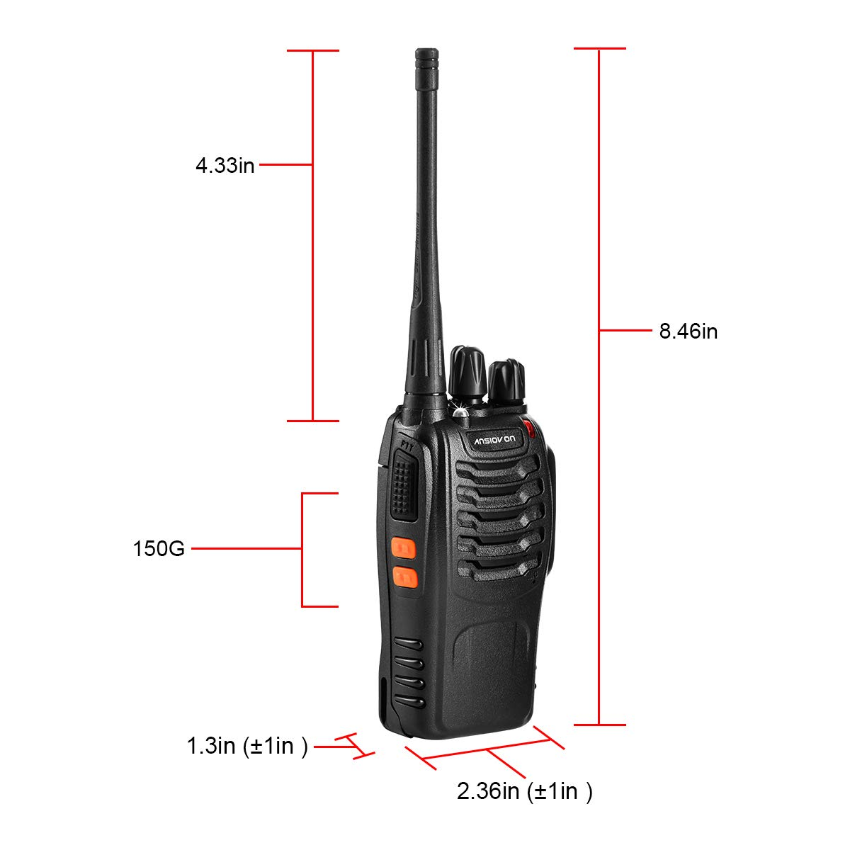 Ltd A-006 Include ANSIOVON Walkie Talkie-Rechargeable Long Range Two Way Radio-16 Channels-LED Flashlight -Earpiece-UHF 400-470Mhz-Professional Walky Talky-1500 Mah Rechargeable Li-ion Battery Shenzhen Xinchaohui Trading Co -4 Pack