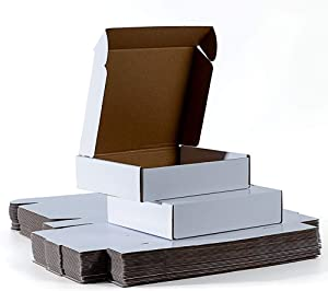 AFMPIPEI 9x7.5x2 inches Shipping Boxes Set of 25, White Corrugated Cardboard Box Literature Mailer, Packaging Boxes for Small Business
