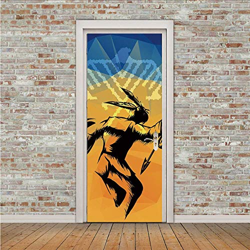 YOLIYANA Native American Beautiful Sticker,War Dance Ritual Against Ancient Totem Poly Effect Triangles Abstract for Indoor,30