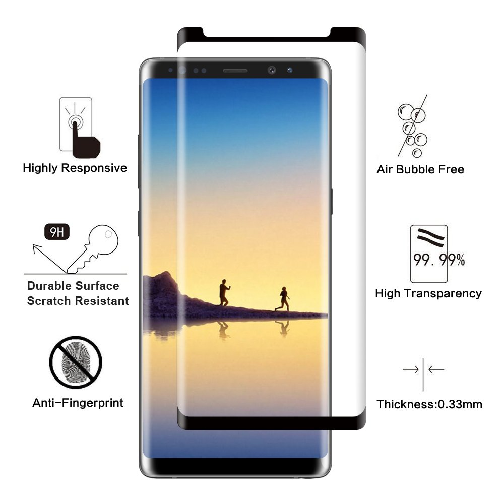 Galaxy Note 8 Screen Protector, GLASS-M Ultra Clear 3D Curved Edge [Case Friendly] 9H Hardness Tempered Glass Shield Bubble Free Anti-Scratch Screen Protector Samsung Galaxy Note 8 2017