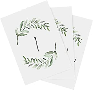 Bliss Collections Rustic Greenery Wedding Table Numbers, 1-25, Head Table Card Included