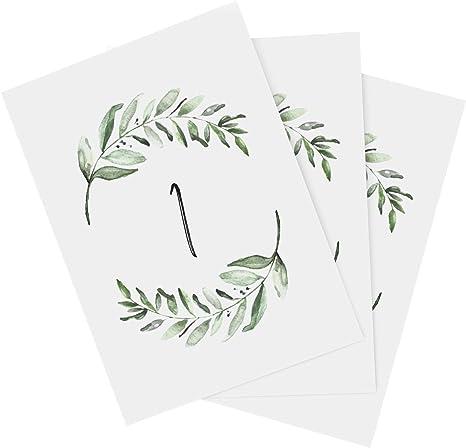 Tumbalina Wedding Table Numbers Botanical Greenery Design Double Sided Numbers 1-25 4x6 Calligraphy Design