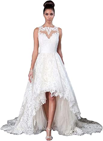 Women S Tulle High Low Wedding Dresses For Bride 2020 Lace Beach Bridal Wedding Dresses At Amazon Women S Clothing Store