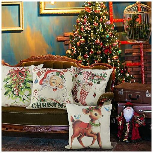Christmas Farmhouse Home Decor CDWERD Christmas Pillow Covers 18×18 Inches Vintage Farmhouse Christmas Throw Pillowcase Decorations Cotton Linen… farmhouse christmas pillow covers
