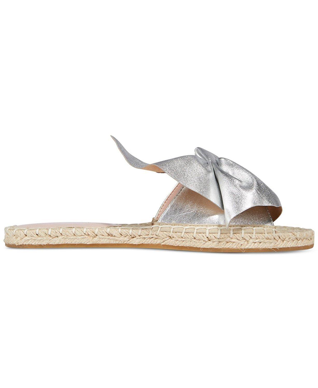 Avec Les Filles Womens Gemma Open Toe Casual Slide Sandals, Silver, Size 5.5