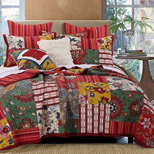3 Piece King, Vintage Classic Floral Pattern Quilt Set, Contemporary Unique Bohemian Paisley Design, Medallion, Cabin Patchwork Themed, Gorgeous Reversible Bedding, Adorable Red, Multi Color Unisex