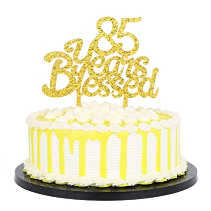 Amazon PALASASA Gold Glitter Acrylic 85 Years Blessed Cake