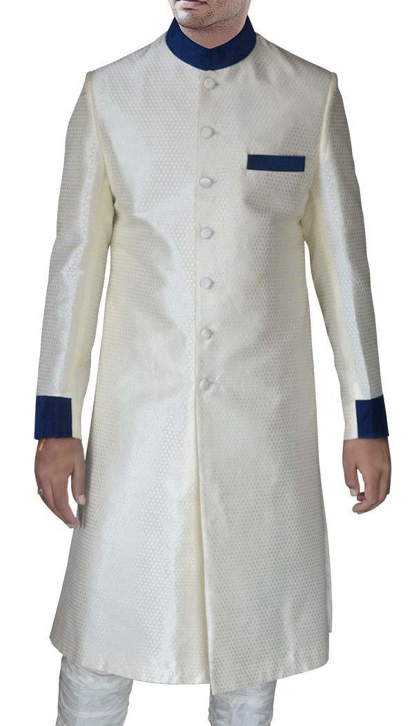 INMONARCH Mens Cream Brocade 2 Pc Sherwani Partywear SH417S54 54 Short Cream