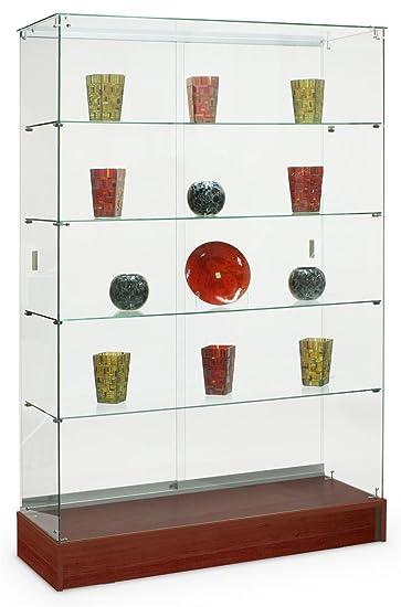 Tempered Glass Frameless Design Trophy Case 48 X 72 18 Inch Cherry