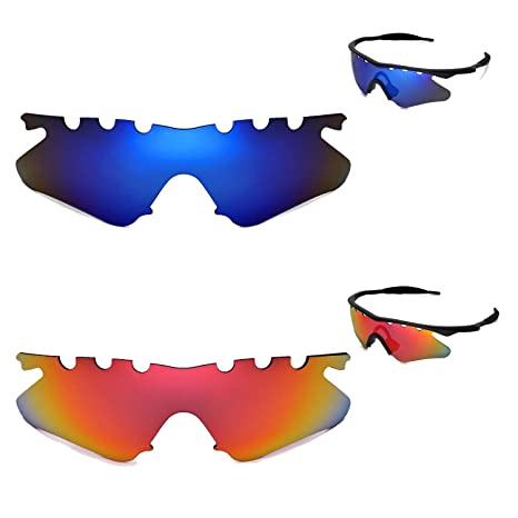 8b87aa2796 Amazon.com  Walleva Polarized Fire Red+Ice Blue Vented Replacement Lenses  for Oakley M Frame Heater Sunglasses  Sports   Outdoors