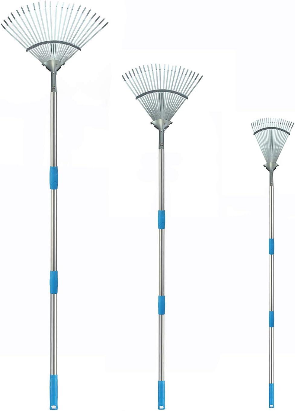 INFLATION 4FT Adjustable Garden Leaf Rake - Expanding Metal Rake with Telescoping Pole - Adjustable Folding Head from 10