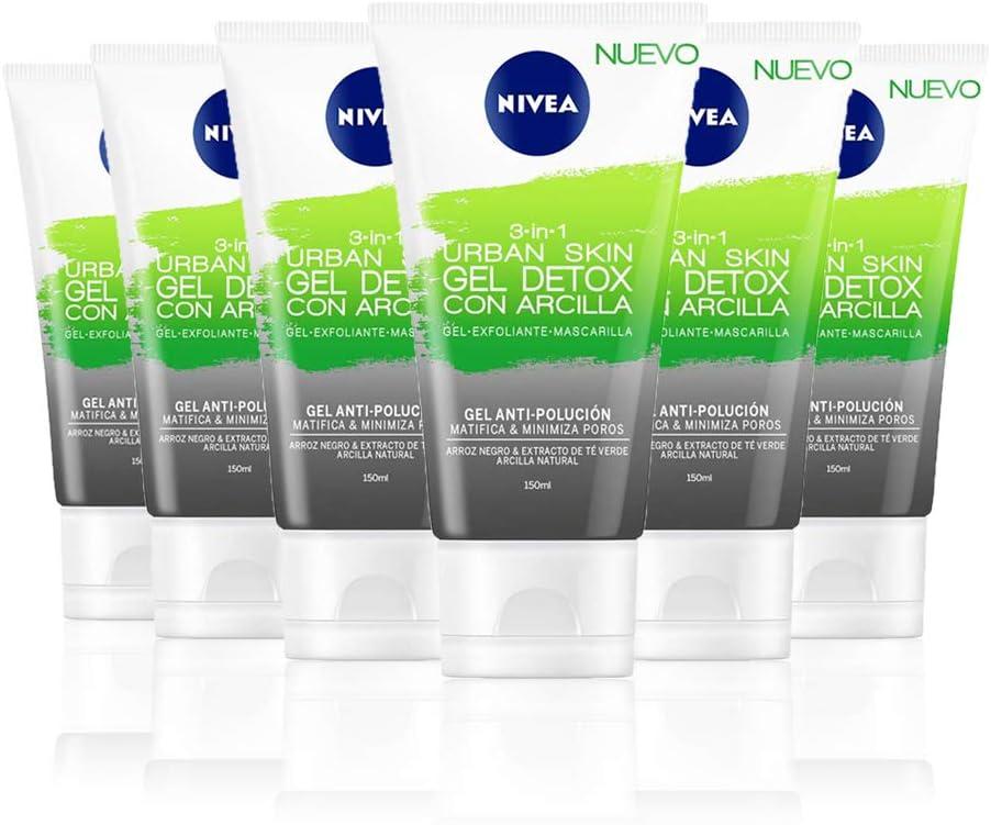 NIVEA Urban Skin Gel Detox con Arcilla 3 en 1 en pack de 6 (6 x ...