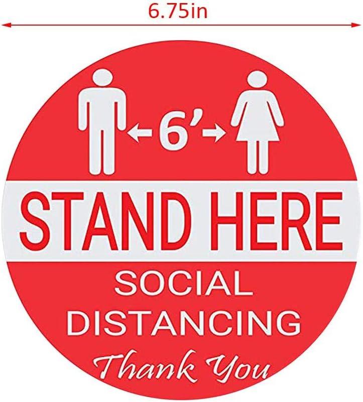 3pcs Floor Stickers Social Distance Floor Stickers Stand Here Keep 6ft in Between Distance Marker Floor Decal for Social Distance While in Line 6.75 Floor Decals