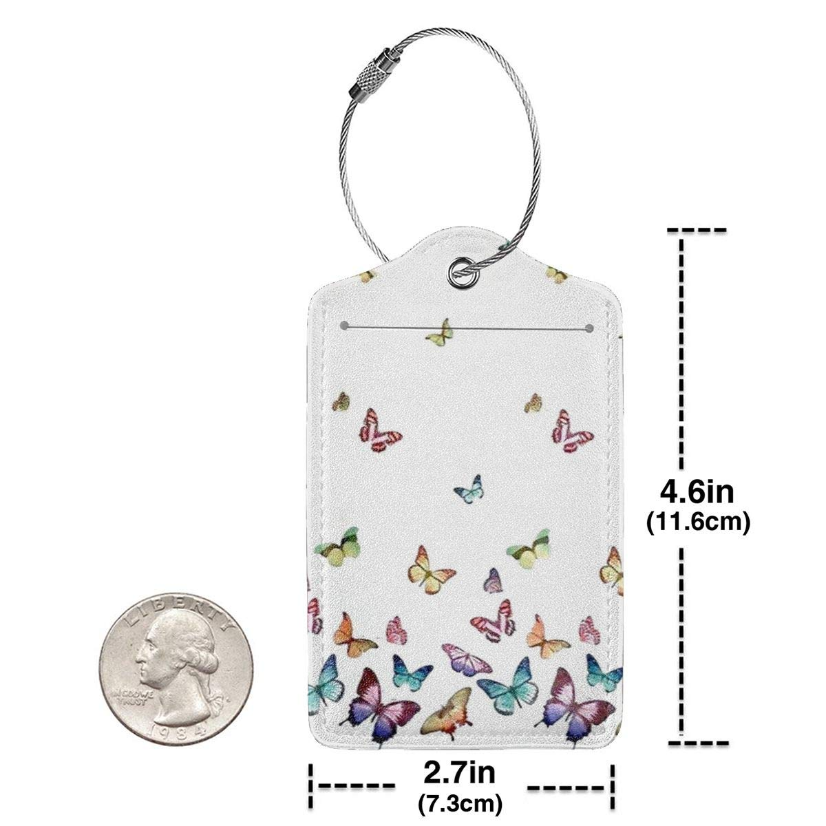 Leather Luggage Tag Spring Summer Butterflies Butterfly Luggage Tags For Suitcase Travel Lover Gifts For Men Women 2 PCS