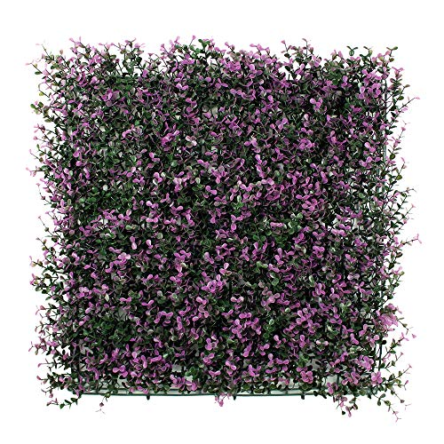 ULAND 6 Piece Artificial Boxwood Hedge Mat, Long Purple Leaves, Outdoor Wall Decoration, Garden Fence, Privacy Screen Decor