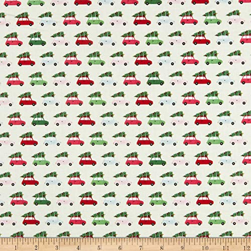 Riley Blake Merry And Bright Cars Cream Fabric by the Yard