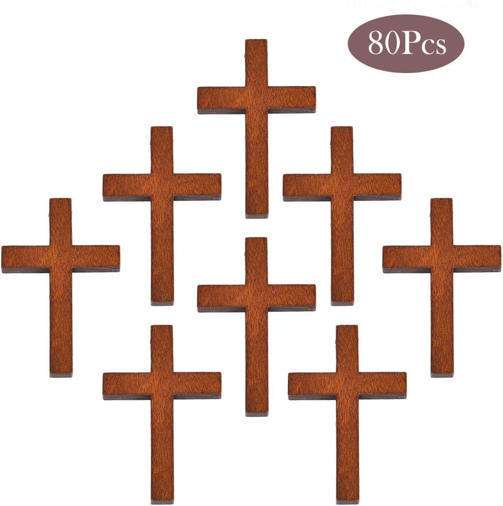 Colgante de cruz de madera de OBSEDE, para bricolaje, collares, joyas, manualidades, color marrón, 43,7 x 29,4 mm, 80Pcs