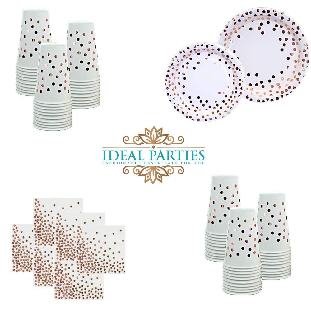 Beautiful Napkins Perfect for Birthday Baby Shower Bridal Shower Wedding Engagement Party Anniversary Reveal Party Graduation and More!!! Rose Gold Metallic Dot Design Napkins for 50 Guests!