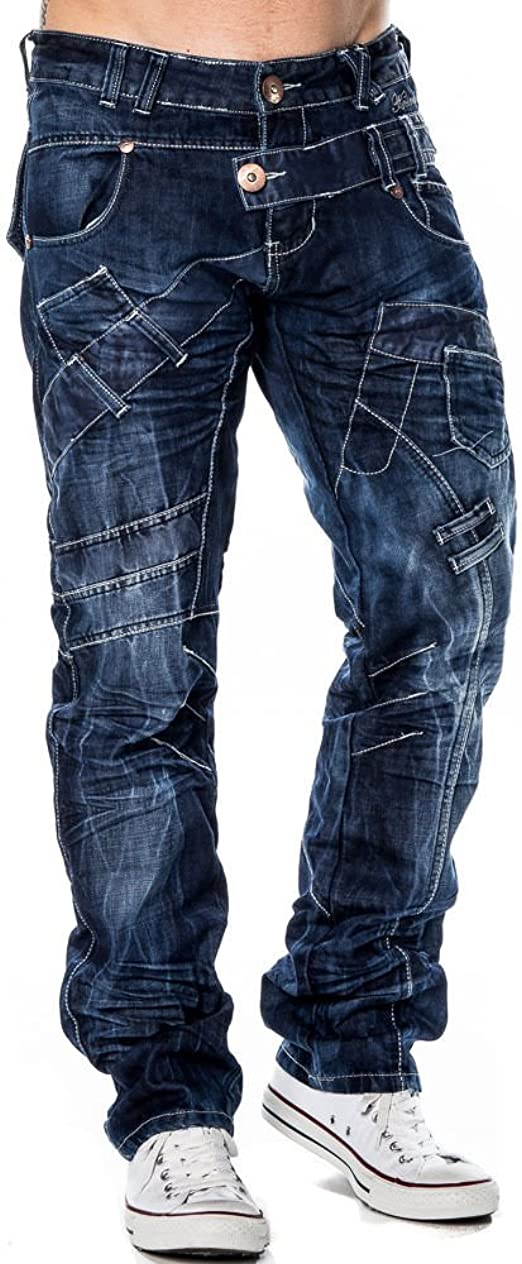 Mens iDenim Designer Italian Dark Blue Jeans Funky Detailing Slim Fit Tapered