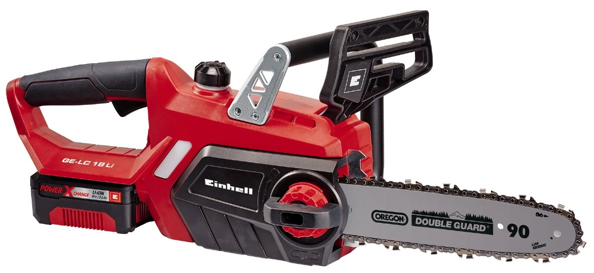 Einhell GE-LC 18 Li Kit Power X-Change 18 V Cordless Lithium-Ion Chain Saw with Battery and Charger (230 mm Cut Length, Oregon Chain and High Quality Blade) - Red 4501760