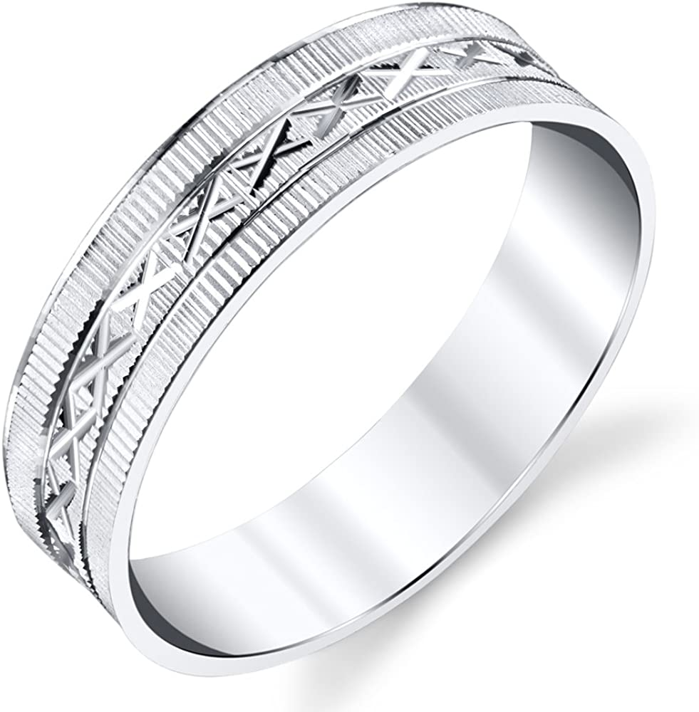 It is an image of 38 Sterling Silver Mens Wedding Band Ring Laser Grooved Design
