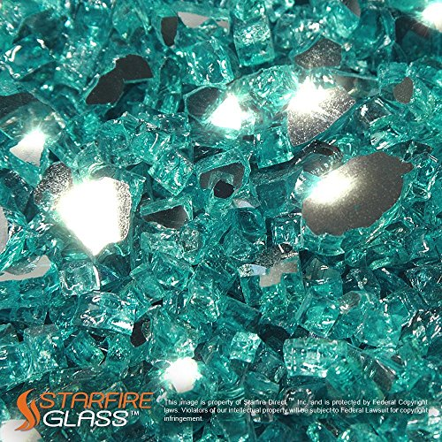 Starfire Glass 10-Pound Fire Glass 1/2-Inch Caribbean Blue - Glass Rocks Fireplace